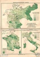 1898= Criminalita' In Italia Francia E Germania= Antica Mappa= Old Map -  - ebay.it