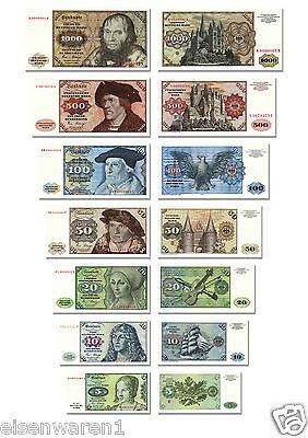 DM Geldscheine von 5 bis 1000 Mark, TOP Reproduktion 1980