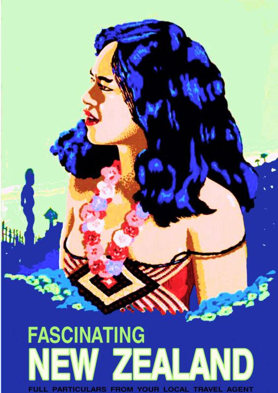 Fascinating New Zealand Maori Maiden Vintage Travel Advertisement Art Poster