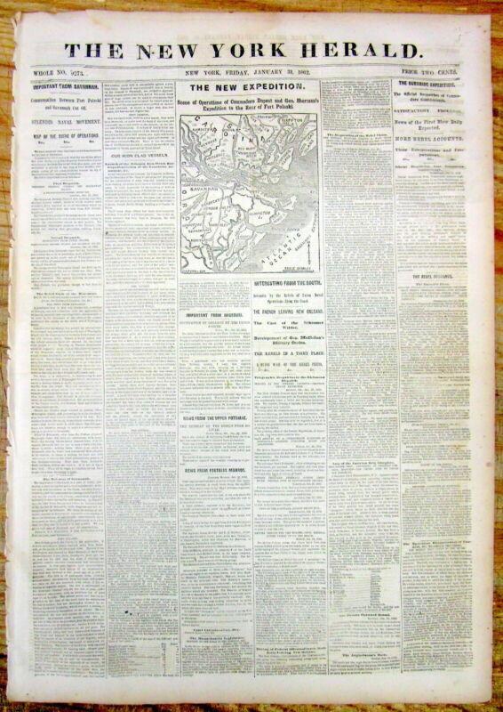 1862 CIVIL WAR newspaper LAUNCH of 1ST IRONCLAD USS MONITOR Map Savannah GEORGIA