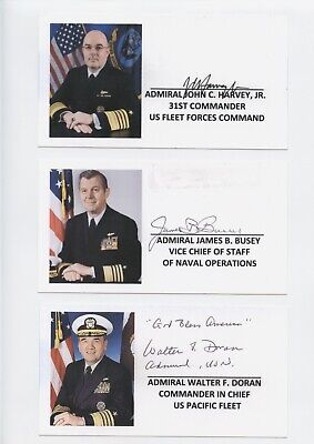 US ADMIRALS SIGNED CUSTOM CARD LOT (6) HARVEY,BUSEY,DORAN