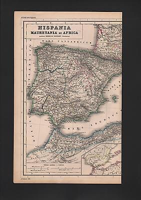 Landkarte city map 1869: Hispania Mauretania et Africa. Spanien Afrika