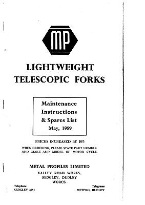 MP LIGHTWEIGHT MOTORCYCLE TELESCOPIC FORKS. MAINTENANCE INSTRUCTIONS & SPARES LI
