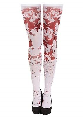 s Bloody Stockings Hold Ups White Adult Female One Size NEW (Ups, Kostüm Halloween)