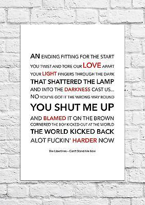 The Libertines - Can't Stand Me Now - Song Lyric Art Poster - A4 Size