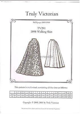 walking skirt TV291 Truly Victorian sewing pattern Victorian SASS style era1898