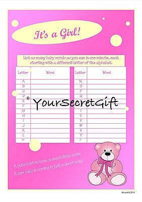 Baby Shower Game GIRL - 4x list as many baby words 1 minute A5 - Baby Shower List