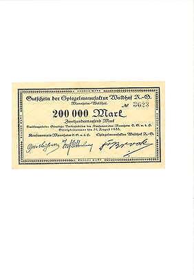 Rupertus 167.1 Notgeldschein Spiegelmanufaktur Waldhof AG 200 Tsd Mark 31.8.1923