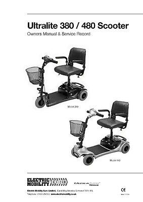 ELECTRIC MOBILITY ULTRALITE 380 480 mobility scooter Owner /user manual