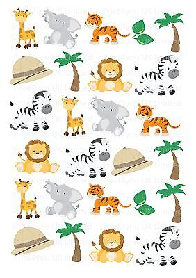 26 icing cupcake cake toppers decorations edible Safari Animals Zoo Lion Zebra (Safari Cupcake Toppers)