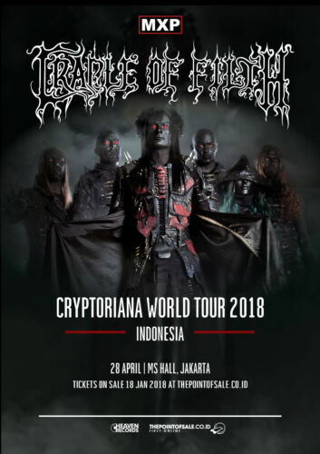 """CRADLE OF FILTH """"CRYPTORIANA WORLD TOUR 2018 JAKARTA, INDONESIA"""" CONCERT POSTER"""
