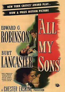 ALL MY SONS - 1948 DVD - Edward G. Robinson, Burt Lancaster - PLAYABLE WORLDWIDE