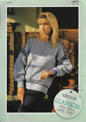 Women's Lace Sweater Fair Isle Accents Sirdar 8673 knitting pattern 4 ply yarn for sale  Shipping to Canada