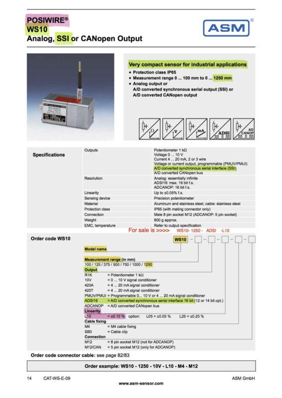 Asm Positionssensor Posiwire Ws-asm Ssi Ws10 Asm Ws10-1250-adsi-l10 Adsi16 Dubai