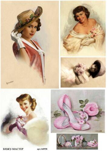 Rice paper decoupage #160958 napkin vintage Ladies Girls supplies craft Milotto