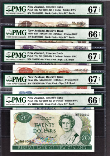New Zealand 1989 MATCHING 1st Prefix LOW 000240 $1 to 20 GEM UNC PMG 66 / 67 EPQ