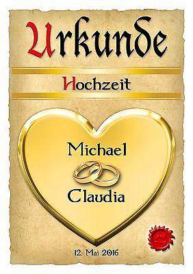 Hochzeitsgeschenk Urkunde zur Hochzeit Dekoration Namensdruck Geschenkidee Herz ()