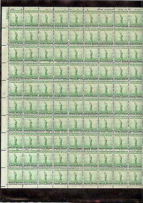 US MINT SHEET SCOTT899,1C STAMP STATUE OF LIBERTY  SHEET OF 100 MNH OG BCV $19