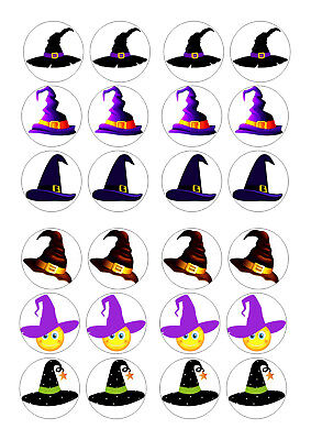 Halloween Cupcakes Witches Hats (24 WITCHES HATS  HALLOWEEN CUPCAKE TOPPER WAFER RICE EDIBLE FAIRY CAKE )
