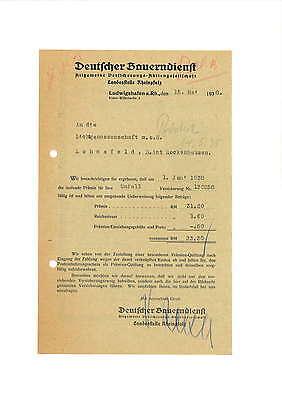 Rechnung 1938 Deutscher Bauerndienst Allg. Verischerungs-AG Ludwigshafen a.Rh.