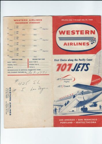 Western Airlines  July. 1. 1960 Timetable. w/707 jets