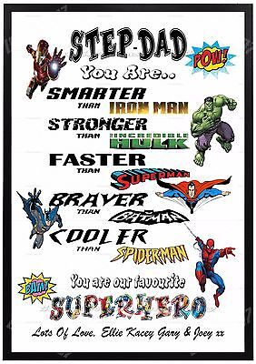 Personalised STEP DAD SUPERHERO Fathersday Birthday Gift Present For Him A4 xmas for sale  Shipping to Ireland
