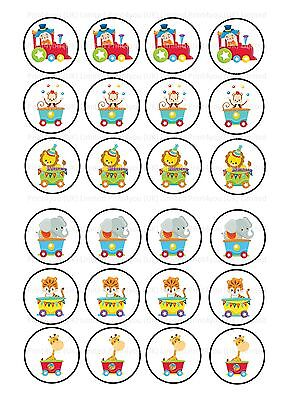 24 icing cupcake cake toppers decorations circus train animals clown