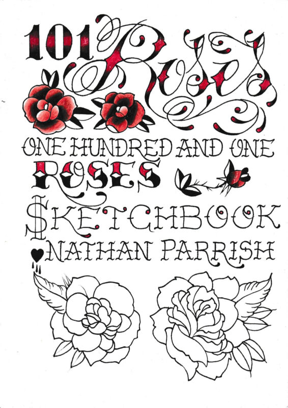 110 Roses TATTOO BOOK Flowers ART LOT flash Sketch Book design flash floral
