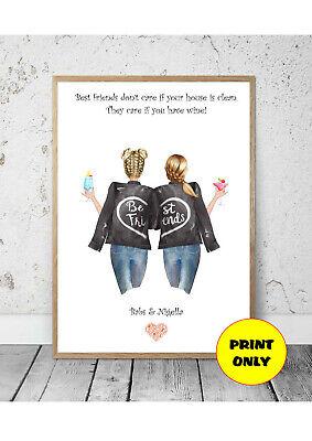A4 Personalised Print Best Friend, Bestie, BFF, Friendship Unframed Unique
