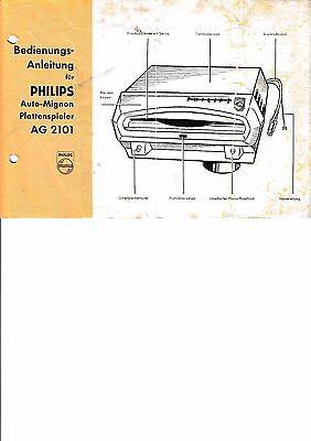 Bedienungsanleitung für Philips  Auto-Mignon AG 2101