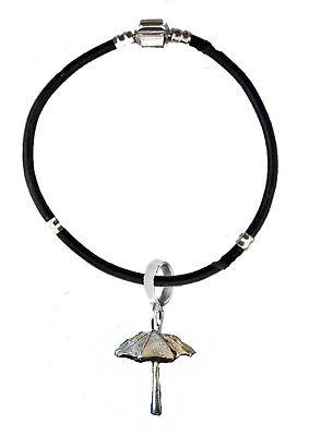 Parasol Umbrella 2.2x2.5cm ft110 on a silver Faux Leather Snake Bracelet