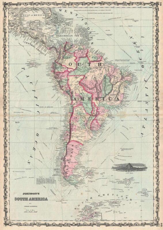 1861 Johnson Map of South America