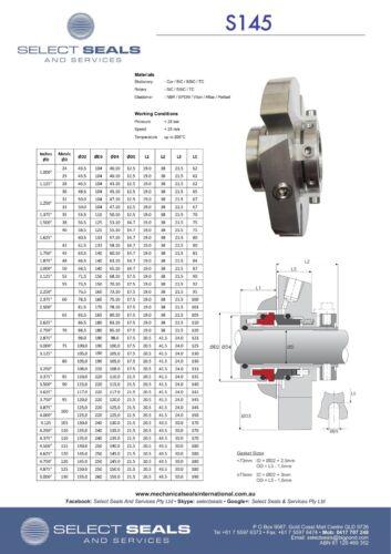 60 mm Pump Cartridge Mechanical Seal seals S145, Single Cartridge Seal , Silicon