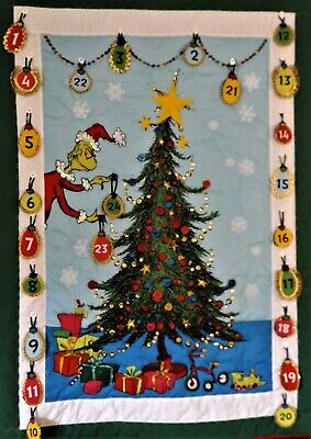 The Grinch, from Dr.Seuss, ADVENT Calendar. Interactive wall hanging. Holiday