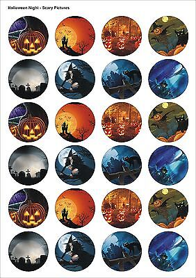 24X PRECUT HALLOWEEN PARTY SCARY TRICK EDIBLE WAFER CUPCAKE CAKE TOPPERS 1448