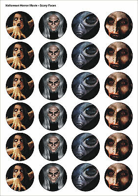 24X PRECUT HALLOWEEN PARTY SCARY FACES EDIBLE WAFER, CUPCAKE, CAKE TOPPERS 1423 - Halloween Cupcake Faces