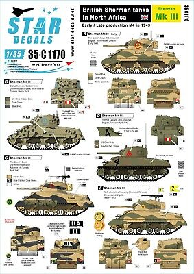 Star Decals 1/35 Sherman Mk III, Early7late production in 1943 35C1170