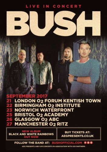 "BUSH ""LIVE IN CONCERT"" 2017 UK TOUR POSTER- Grunge, Alt / Hard Rock, Post-grunge"