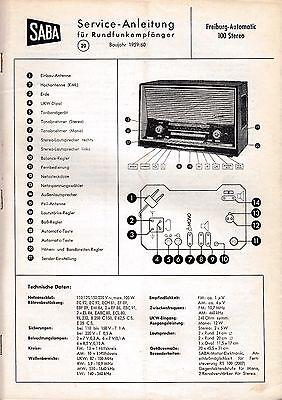 Service Manual-Anleitung für Saba Freiburg Automatic 100