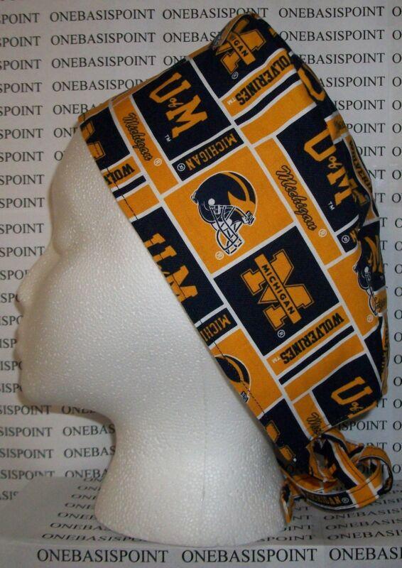Surgical Scrub Hat Cap Made W University Of Michigan Wolverines Fabric Nurse ER