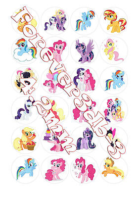 24 x 42mm My little pony Cup Cake Decoration Toppers Edible Wafer Paper