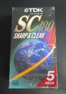 TDK SC180 5 PACK 3 HOUR VHS VIDEO CASSETTES - NEW SEALED