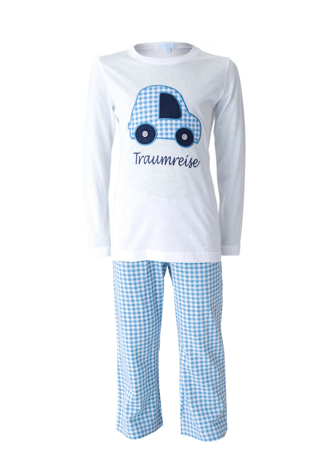 "LOUIS & LOUISA "" Auf Traumreise "" Pyjama Auto hellblau Gr. 104 - 128 NEU"