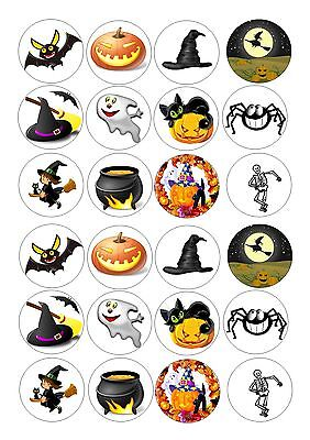 24 icing cupcake cake toppers decorations edible Halloween child friendly cute (Halloween Cupcake Icing Decorations)