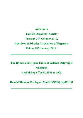 Text of Address on the Hymns and Hymn Tunes of William D Maclagan