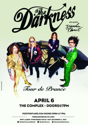 "THE DARKNESS/DIARRHEA PLANET ""TOUR DE PRANCE"" 2018 SALT LAKE CONCERT POSTER-Glam"