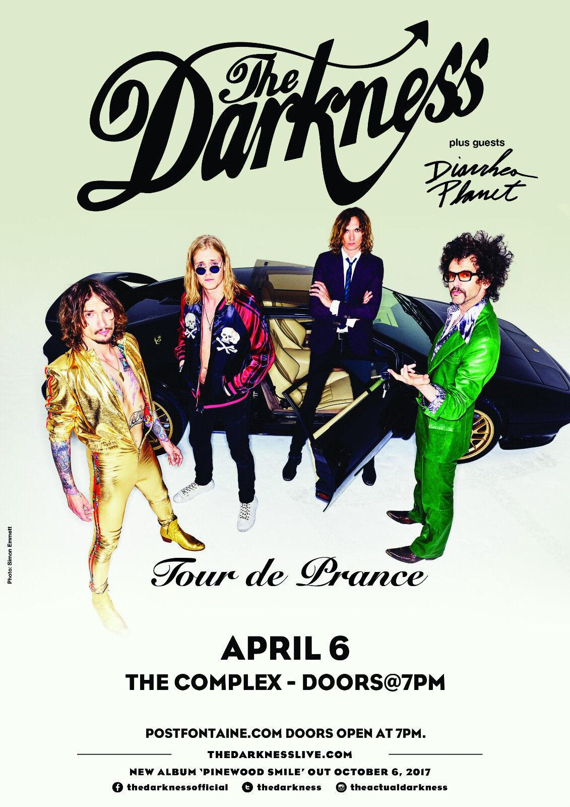 THE DARKNESS/DIARRHEA PLANET TOUR DE PRANCE 2018 SALT LAKE CONCERT POSTER-Glam - $11.99
