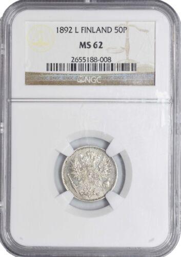 1892 L MS62 Finland Silver 50 Pennia NGC KM# 2.2 UNC