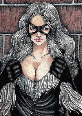 "Black Cat (09""x12"") original and unique 1/1 comic art by Kleber Nod"