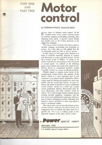 Technical Report - Electrical Motor Control - Power Magazine - 1962 (E6772)